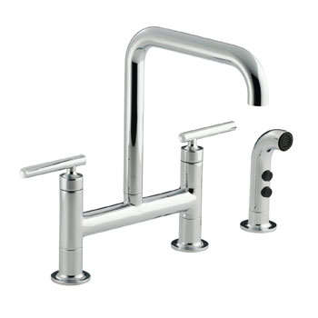 Kohler K-7548-4-CP Purist Deck-Mount Bridge Faucet with Sidespray - Chrome