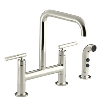 Kohler K-7548-4-SN Purist Deck-Mount Bridge Faucet with Sidespray - Polished Nickel