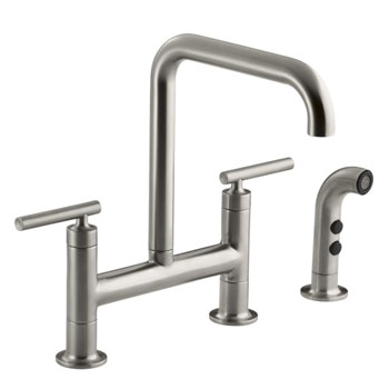 Kohler K-7548-4-VS Purist Deck-Mount Bridge Faucet with Sidespray - Stainless