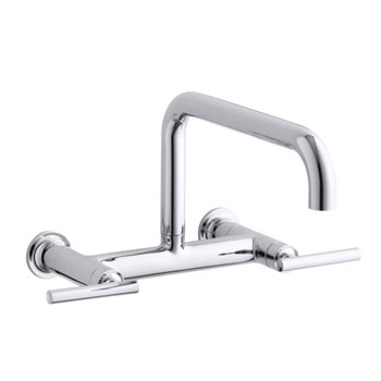 Kohler K-7549-4-CP Purist Wall-Mount Bridge Faucet - Chrome