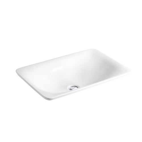 Kohler K-75749-HD1-0 Sartorial Herringbone on Carillon Wading Pool Rectangular Above Counter Bathroom Sink - White