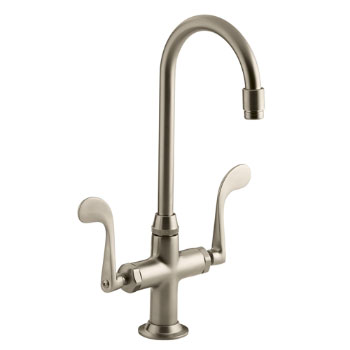Kohler K-8761-BV Essex Entertainment Sink Faucet w/Wristblade Handles - Brushed Bronze