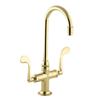 Kohler K-8761-PB Essex Entertainment Sink Faucet w/Wristblade Handles - Polished Brass