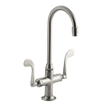 Kohler K-8761-VS Essex Entertainment Sink Faucet w/Wristblade Handles - Vibrant Stainless