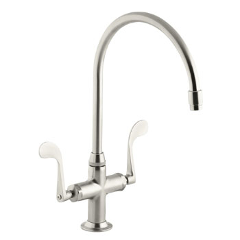 Kohler K-8762-BN Essex Kitchen Sink Faucet w/Wristblade Handles - Brushed Nickel
