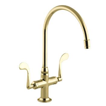 Kohler K-8762-PB Essex Kitchen Sink Faucet w/Wristblade Handles - Polished Brass