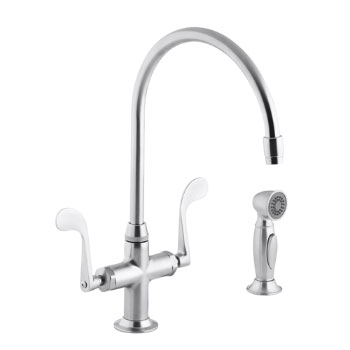 Kohler K-8763-G Essex Kitchen Sink Faucet w/Wristblade Handles and Sidespray - Brushed Chrome