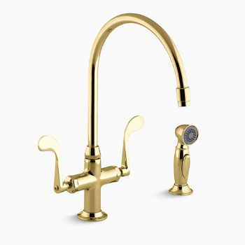 Kohler K-8763-PB Essex Kitchen Sink Faucet w/Wristblade Handles and Sidespray - Polished Brass