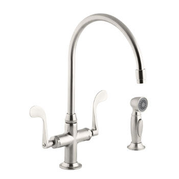 Kohler K-8763-VS Essex Faucet w/Wristblade Handles and Sidespray - Vibrant Stainless