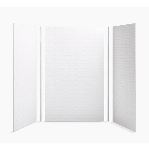 Kohler K-97616-T01-0 Choreograph 60 in x 36 in x 96 in Shower Wall Kit Brick Texture - White