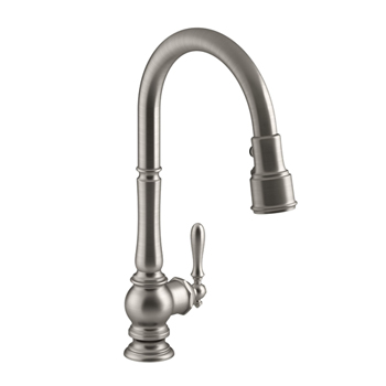 Kohler K-99259-VS Artifacts Single Hole Kitchen Sink Faucet with 17-5/8 inch  Pulldown Spout and Turned Lever Handle - Vibrant Stainless