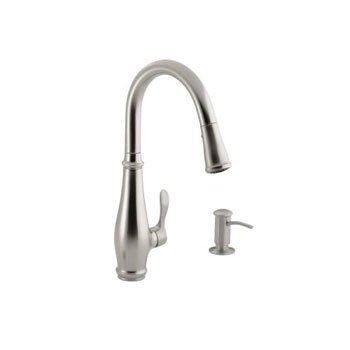 Kohler K-R780-VS Cruette Single Control Pull Down Kitchen Faucet with Matching Soap / Lotion Dispenser - Vibrant Stainless