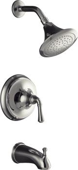 Kohler K-T10274-4A-CP Forte Single Handle Pressure Balanced Tub & Shower Trim with Traditional Lever Handle - Chrome
