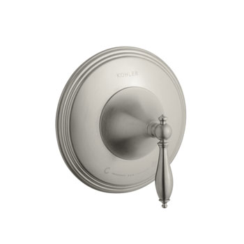 Kohler K-T10301-4M-BN Finial Traditional Thermostatic Valve Trim with Lever Handle and Polished Accents - Brushed Nickel (Valve Not Included)