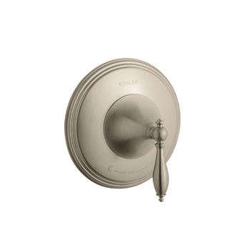 Kohler K-T10301-4M-BV Finial Traditional Thermostatic Valve Trim with Lever Handle and Polished Accents - Brushed Bronze (Valve Not Included)