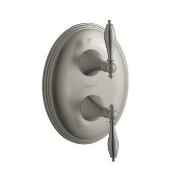 Kohler K-T10302-4M-BN Finial Traditional Stacked Valve Trim with Lever Handles - Brushed Nickel (Valve Not Included)