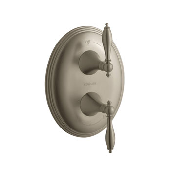 Kohler K-T10302-4M-BV Finial Traditional Stacked Valve Trim with Lever Handles - Brushed Bronze (Valve Not Included)