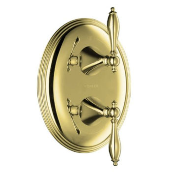 Kohler K-T10302-4M-PB Finial Traditional Stacked Valve Trim with Lever Handles - Polished Brass