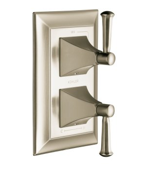 Kohler K-T10422-4S-BN Memoirs Stately Stacked Thermostatic Valve Trim with Stately Lever Handles - Brushed Nickel