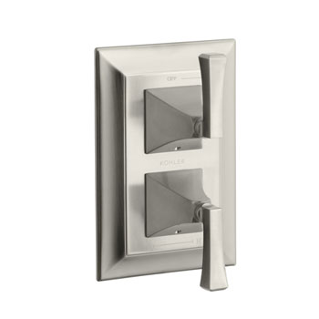 Kohler K-T10422-4V-BN Memoirs Stately Stacked Thermostatic Valve Trim with Stately Deco Lever Handles - Brushed Nickel