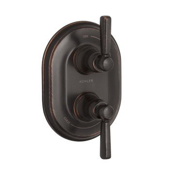 Kohler K-T10594-4-2BZ Bancroft Stacked Valve Trim with Metal Lever Handles - Oil Rubbed Bronze