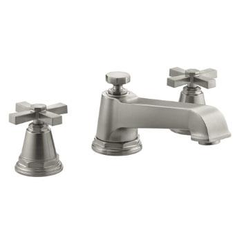 Kohler K-T13140-3A-BN Pinstripe Pure Design Deck-Mount Bath Faucet Trim w/Cross Handles - Brushed Nickel