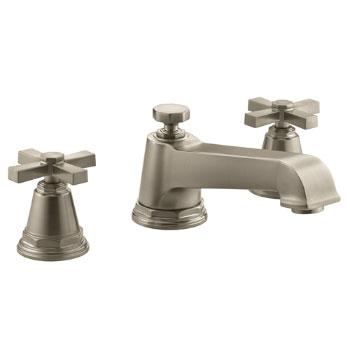 Kohler K-T13140-3A-BV Pinstripe Pure Design Deck-Mount Bath Faucet Trim w/Cross Handles - Brushed Bronze