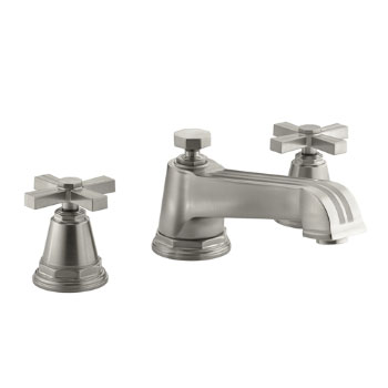 Kohler K-T13140-3B-BN Pinstripe Deck-Mount Bath Faucet Trim w/Cross Handles - Brushed Nickel