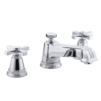 Kohler K-T13140-3B-CP Pinstripe Deck-Mount Bath Faucet Trim w/Cross Handles - Chrome