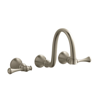 Kohler K-T16106-4A-BV Two Handle Wall-Mount Lavatory Faucet - Brushed Bronze