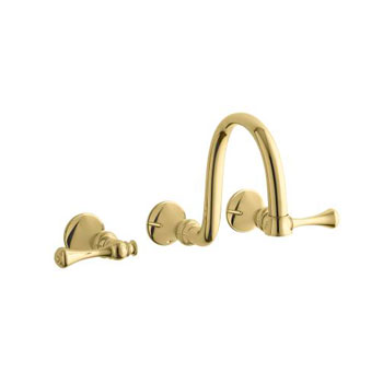 Kohler K-T16106-4A-PB Revival Two Handle Wall-Mount Lavatory Faucet - Polished Brass