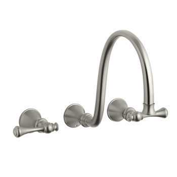 Kohler K-T16107-4A-BN Revival Two Handle Wall-Mount Lavatory Faucet - Brushed Nickel