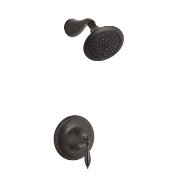 Kohler K-T313-4M-2BZ Finial Traditional Rite-Temp Pressure-Balancing Shower Faucet Trim with Lever Handle - Oil Rubbed Bronze (Valve Not Included)