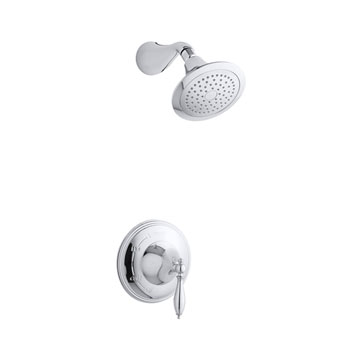Kohler K-T313-4M-CP Finial Traditional Rite-Temp Pressure-Balancing Shower Faucet Trim with Lever Handle - Chrome (Valve Not Included)