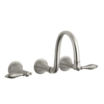 Kohler K-T343-4M-BN Finial Traditional Wall-Mount Lavatory Faucet Trim with Lever Handles - Brushed Nickel