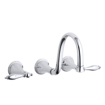 Kohler K-T343-4M-CP Finial Traditional Wall-Mount Lavatory Faucet Trim with Lever Handles - Chrome