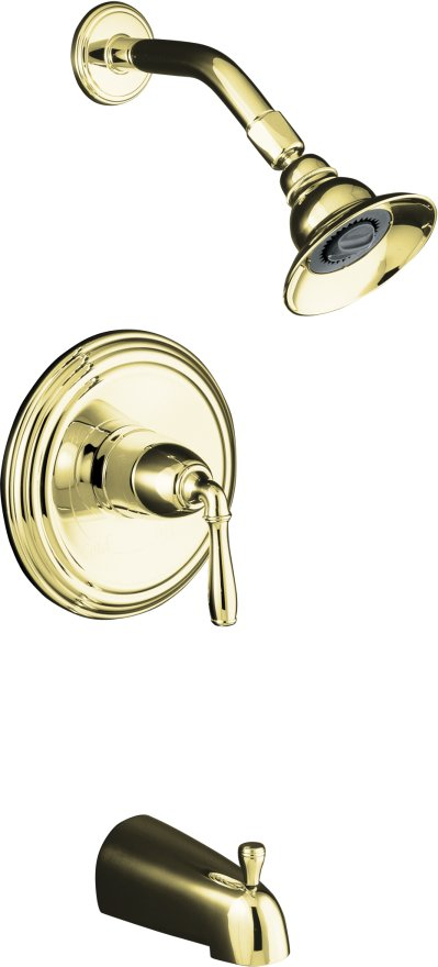 Kohler K-T394-4S-PB Devonshire Rite Temp Pressure Balancing Single Handle Tub & Shower Trim Kit with Slip-Fit Tub Spout - Polished Brass
