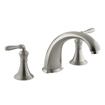 Kohler K-T398-4-BN Devonshire Deck/Rim Mount Roman Tub Filler Trim Kit - Vibrant Brushed Nickel