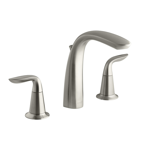 Kohler K-T5324-4-BN Refinia Bath Faucet Trim with High Arch Diverter Spout and Lever Handles, Valve Not Included - Brushed Nickel