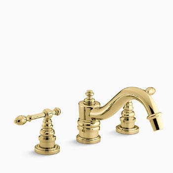 Kohler K-T6906-4-PB IV Georges Brass Deck-Mount Roman Tub Faucet w ...