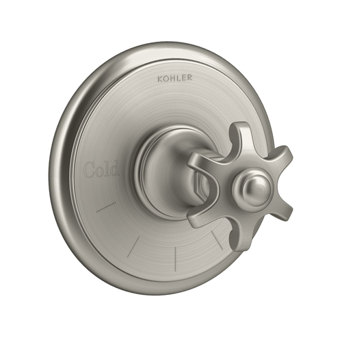 Kohler K-T72769-3M-BN Artifacts Thermostatic Valve Trim with Prong Handle - Brushed Nickel