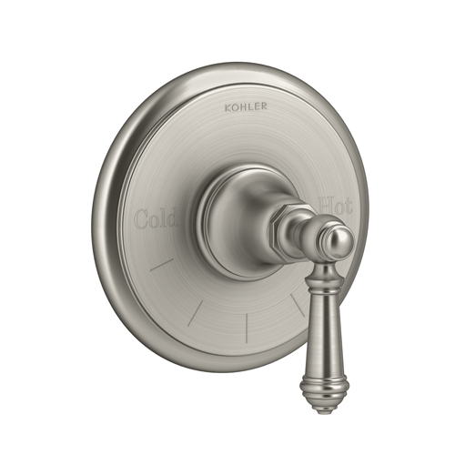 Kohler K-T72769-4-BN Artifacts Thermostatic Valve Trim with Lever Handle - Brushed Nickel