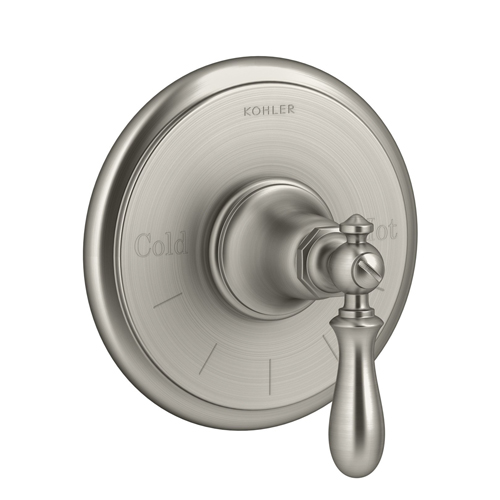 Kohler K-T72769-9M-BN Artifacts Thermostatic Valve Trim with Swing Lever Handle - Brushed Nickel