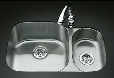 Kohler K-3355 Undertone High/Low Undercounter Kitchen Sink, Rounded Basin Style - Stainless Steel