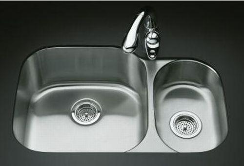 Kohler K-3355 Undertone High/Low Undercounter Kitchen Sink, Rounded ...