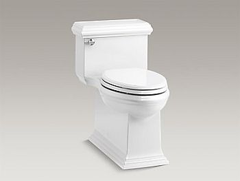 Kohler K-6424-0 Memoirs Classic Comfort Height  Skirted One-Piece Compact Elongated 1.28 GPF Toilet with Left-Hand Trip Lever - White