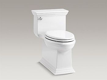 Kohler K-6428-0 Memoirs Stately Comfort Height Skirted One-Piece Compact Elongated 1.28 GPF Toilet with Left-Hand Trip Lever - White
