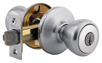 Kwikset 401T Security Series Tylo Single Cylinder Keyed Entry Door Knobset - Satin Chrome