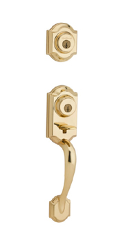 Kwikset 553MNH SMT Montara Two-Point Locking Single Cylinder Handleset - Polished Brass