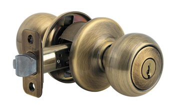 Kwikset 740C-S Copa Keyed Entry Door Knob Set with SmartKey - Antique Brass